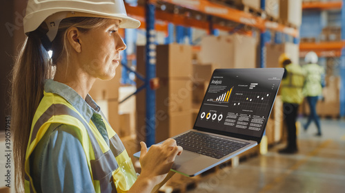 Fotografie, Tablou Professional Female Worker Wearing Hard Hat Holds Laptop Computer with Screen Showing Analysis Software in the Retail Warehouse full of Shelves with Goods