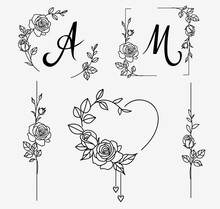 Set Of Decorative Frame And Border Elements With Roses For Wedding Design. Hand Drawn Sketch. Vector Illustration.