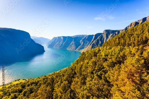 Fotografiet Fjord landscape Aurlandsfjord in Norway
