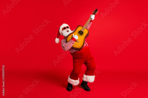Full length body size view of his he handsome bearded fat overweight Santa grand Fotobehang