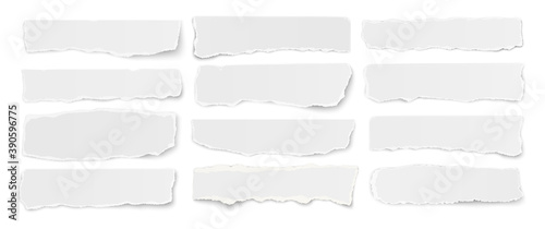 Obraz Horizontal set of torn long pieces of paper isolated on a white background. - fototapety do salonu