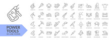 Power Tools Line Icon Set. Isolated Signs On White Background. Vector Illustration. Collection