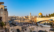 Panoramic View Of Western Wall Plaza Square Beside Holy Temple Mount With Dome Of The Rock Shrine And Bab Al-Silsila Minaret In Historic Old City Of Jerusalem, Israel