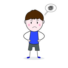 Doodle Frown Face Standing With Akimbo Pose Cartoon Vector.