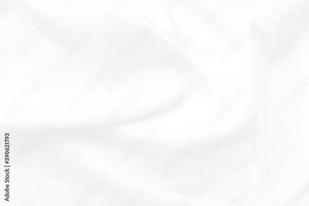 Fototapeta White and grey Smooth elegant background with cloth soft waves. Cloth texture can use as background design.