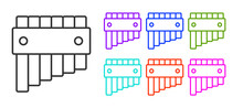 Black Line Pan Flute Icon Isolated On White Background. Traditional Peruvian Musical Instrument. Folk Instrument From Peru, Bolivia And Mexico. Set Icons Colorful. Vector.