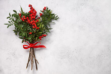 Christmas Red Holly Berries On White Background