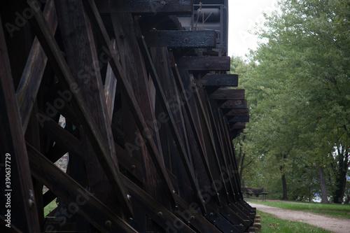 Obraz na plátně Wooden Train Trestle for an abstract