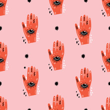 Pink Monochrome Palm Reader Psychedelic Line Art Hand With All Seeing Eye Pattern. Cosmic Seamless Vector Repeat Pattern.