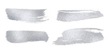 Set Of Vector Sparkle Silver Mascara Brush Strokes. Luxury Decor Of Shiny Foil. Collection Of Grunge Metal Paint Texture For Greeting Card Design. Glitter Patterns For Sticker Isolated From Background