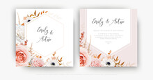 Vector Cute Floral Autumn Wedd...