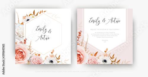 Fotografija Vector cute floral autumn wedding invite card template set