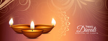 Beautiful Decorative Happy Diwali Banner With Lamps