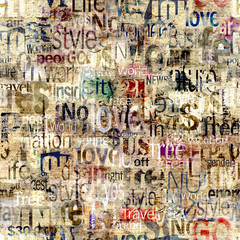 Fototapeta Grunge Abstract grunge urban geometric chaotic seamless pattern with words, letters