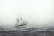 Illustration Of Sailing Ship F...