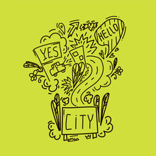 Vector Doodle New York. Hand-drawn Vector Sketch Of The Urban Streets Of The United States. Street With The Inscription Of The City. Urban Environment Road Signs, Car, Houses, Trees, Plants, Flowers