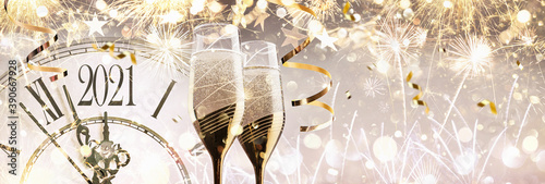 Fotografie, Obraz New Year's Eve 2021 Celebration Background with Champagne