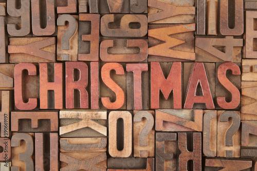 Obraz Christmas word in vintage letterpress wooden blocks - fototapety do salonu