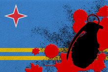 Aruba Flag And MK2 Frag Grenade In Red Blood. Concept For Terror Attack Or Military Operations With Lethal Outcome