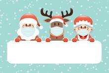 Gutschein Santa Rentier Und Mrs Santa Maske Schnee Türkis