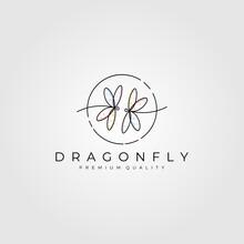 Dragonfly Line Art Logo Minima...