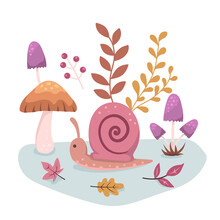 Cute Simple Vector Illustration Of A Pink Snail In A Forest With Purple, Brown And Orange Mushrooms And Pink And Yellow Leaves In Autumn
