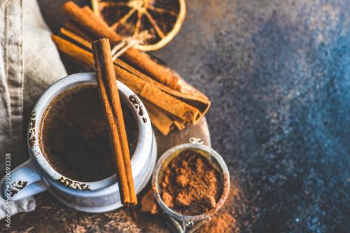 Hot chocolate with cinnamon and orange Canvas Print