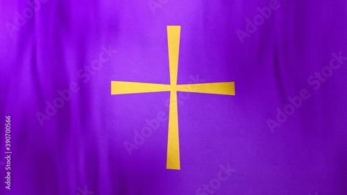 Photo Waving flag of Byzantine Christian Cross on liturgic violet