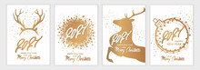 2021. Merry Christmas And Happy New Year. A Set Of Templates For Postcards, Posters, Cards, Flyers, Invitations. Christmas Golden Banner Collection. Modern Vector Illustration.