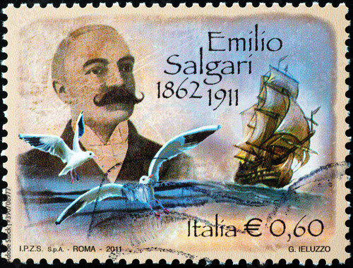 Fotografie, Obraz Italian novelist Emilio Salgari on postage stamp
