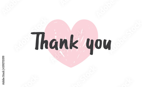 Foto Thank you lettering text with heart background