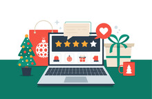 Gift Review Online On Laptop. Christmas Shopping And Feedback Five Orange Stars Flat Vector Illustration. Office Desk With Holiday Elements