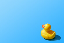 Creative Image Of An Isolated Yellow Rubber Duck On A Blue Background. Copy Space