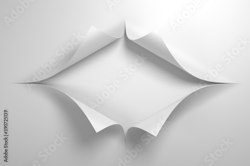 Fotografia paper with the curled corner, 3d rendering