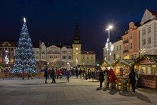 Christmas Market On Masaryk Square In Ostrava, Czech Republic. At The Opposite End Of The Square Is Located The Old Town Hall (now The City Museum) And The Marian Column.