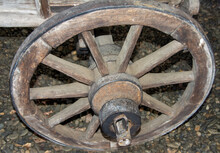 Closeup Of An Old Wooden Cart ...