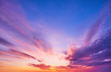 Sunset Sky With Multicolor Clo...