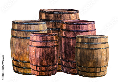 Tela group of vertical barrels brown and red with iron hoops, traditionally used to s