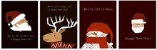 New Year Cards. Set Of Christmas Cards, With Deer, Snowman, Santa For Print, Design, Poster, Stickers.