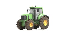 Green Tractor Isolated. White Background 3d Render
