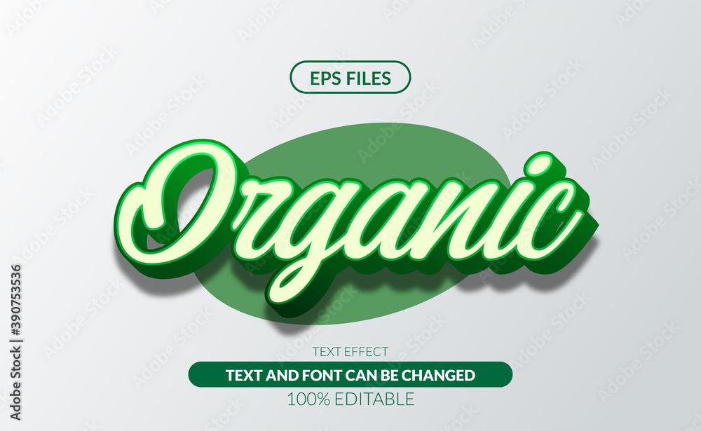Fototapeta Fresh Organic green 3d editable text effect eps file vector