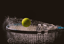 Closeup Shot Of A Tennis Ball And Racket With A Splash Of Water Isolated On A Dark Background