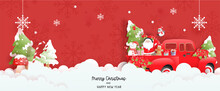 Christmas Scene Banner With Cute Santa And Christmas Tree