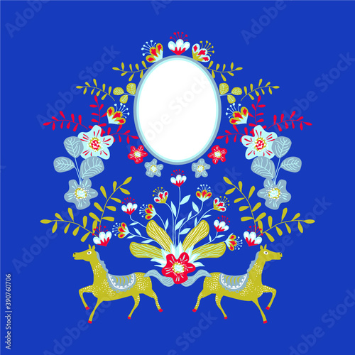 Obraz na plátně Vector symmetrical illustration with folklore elements