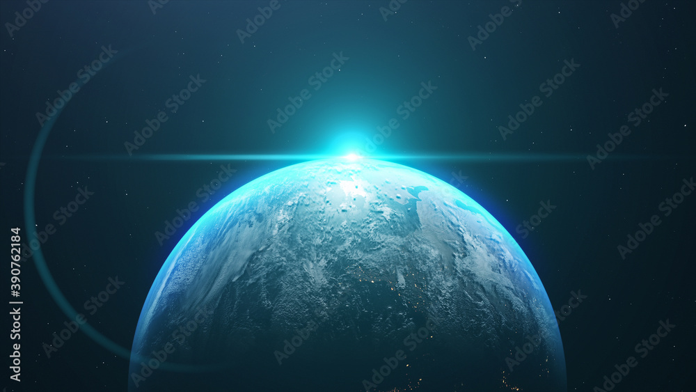 Fototapeta 3D rendering of the planet Earth in the starry galaxy with bright blue light