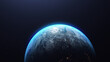 3D rendering of the planet Earth in the starry galaxy