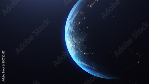 Obraz na plátně 3D rendering of the planet Earth in the starry galaxy