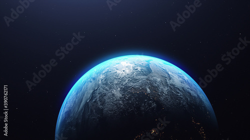 Fotografia 3D rendering of the planet Earth in the starry galaxy