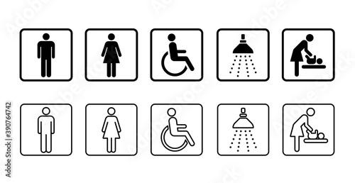Fotografie, Tablou アイコン トイレの男女 身体障害者 ベビーシート