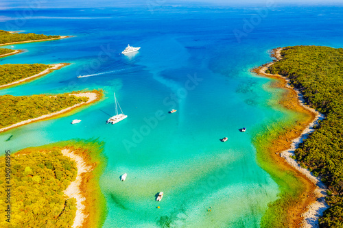 Great aerial view of the azure lagoon on sunny day Fotobehang